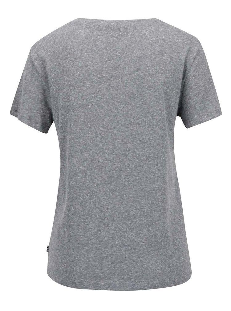 Tricou gri melanj cu logo pentru femei Vans Timeless