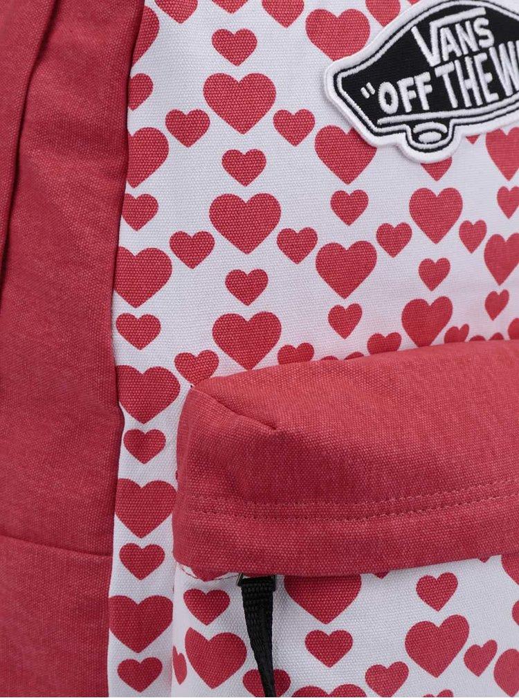 Rucsac rosu&alb VANS Realm cu inimi