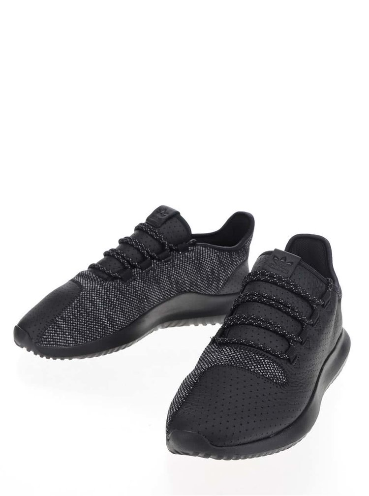Černé pánské žíhané kožené tenisky adidas Originals Tubular Shadow