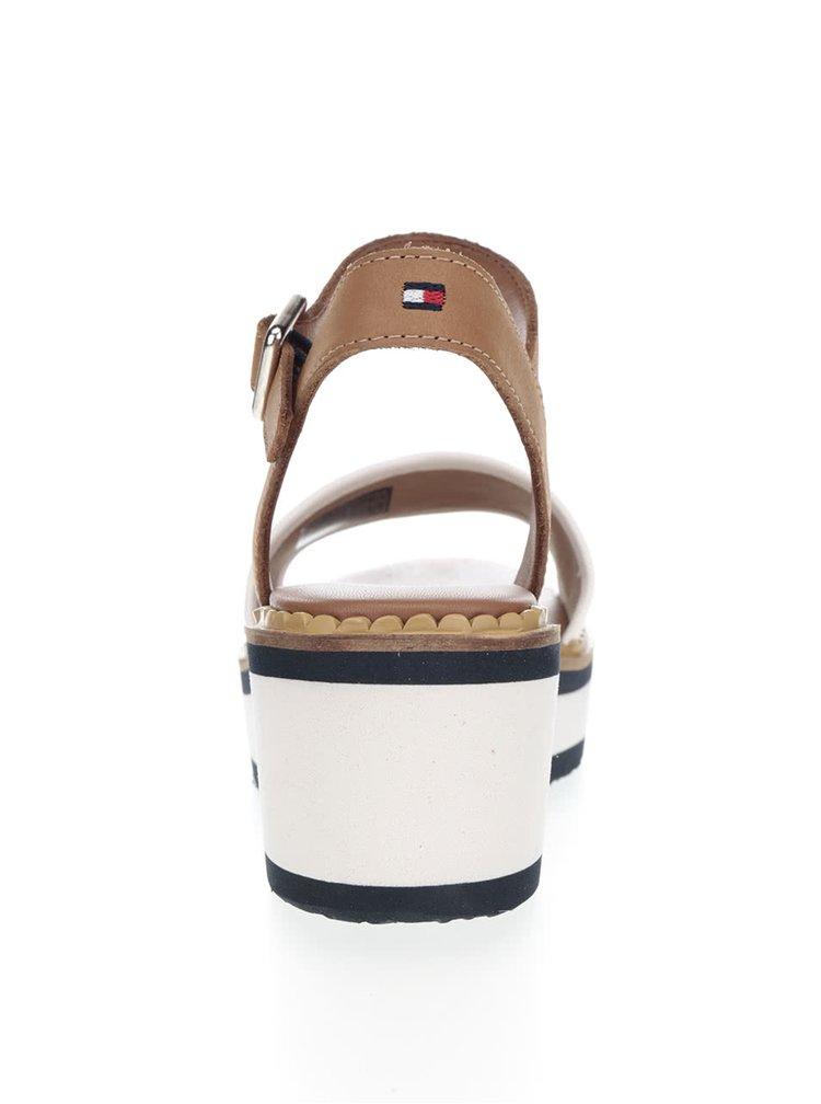 Krémovo-hnědé dámské kožené sandály na platformě Tommy Hilfiger