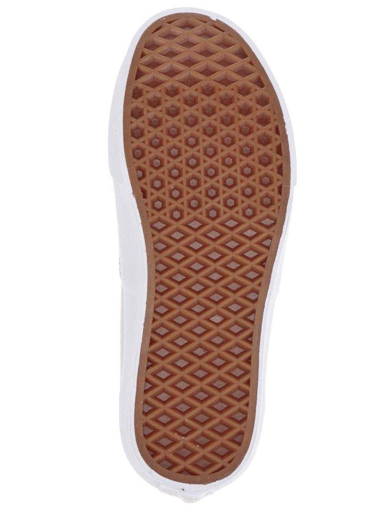 Krémové dámské tenisky s koženými metalickými detaily VANS Authentic Decon