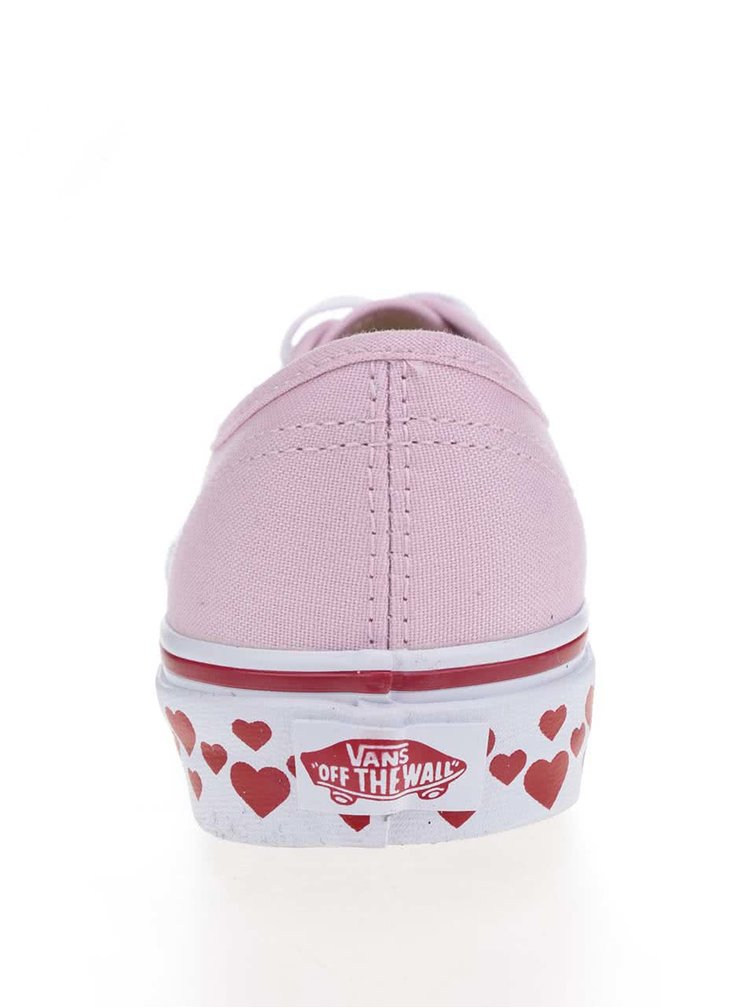 Teniși roz pal VANS Authentic cu imprimeu inimi