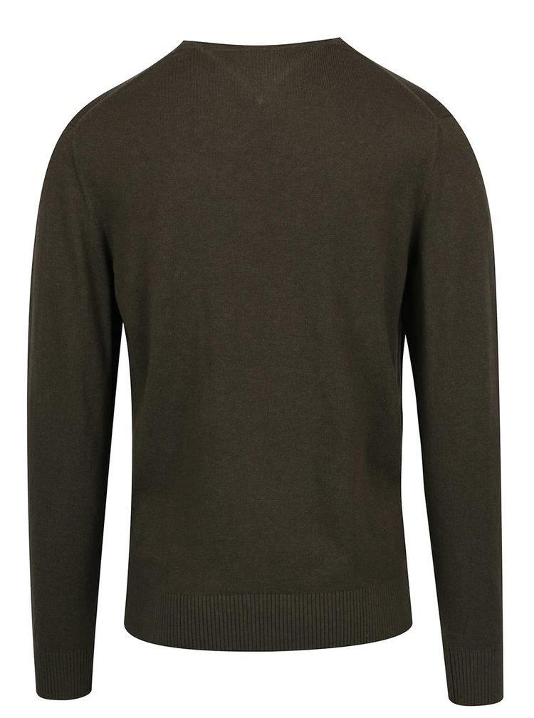 Tmavě zelený pánský lehký svetr s příměsí lnu Tommy Hilfiger