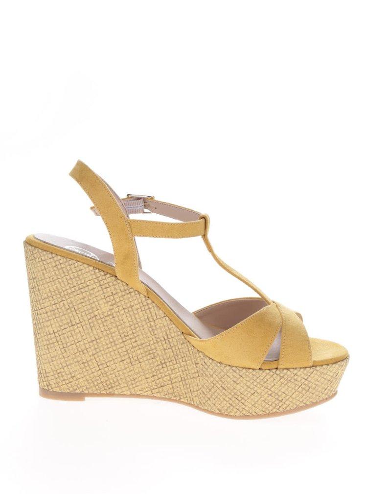 Žluté sandály v semišové úpravě na platformě OJJU