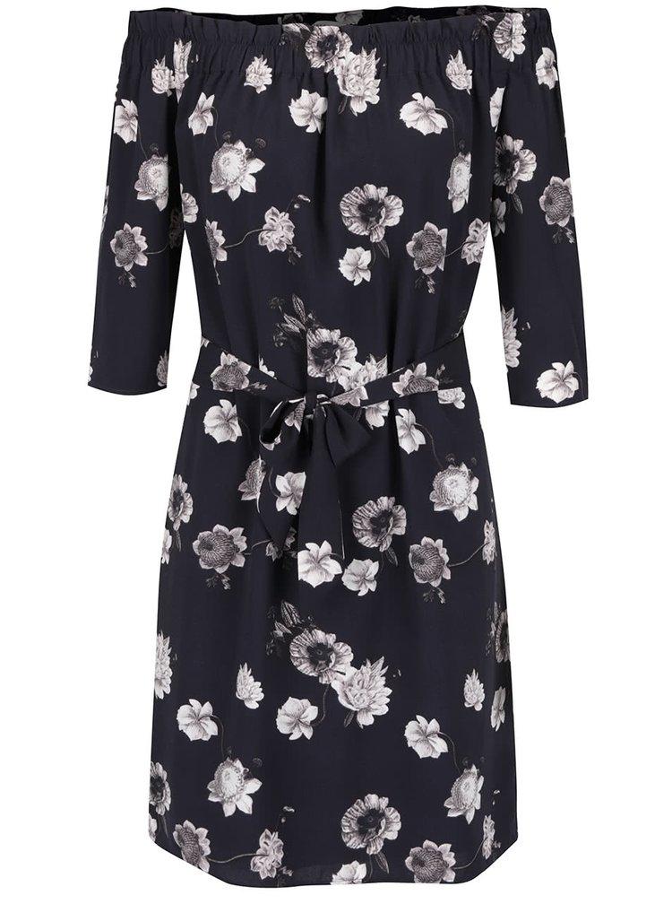Tmavě modré květované šaty s odhalenými rameny Selected Femme Rosanna