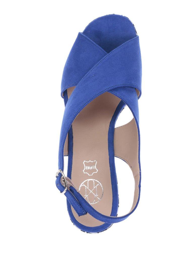 Modré sandály v semišové úpravě na platformě OJJU