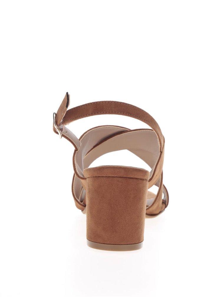 Hnedé sandále v semišovej úprave na podpätku OJJU