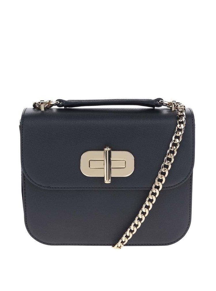 Tmavě modrá crossbody kabelka s detaily ve zlaté barvě Tommy Hilfiger