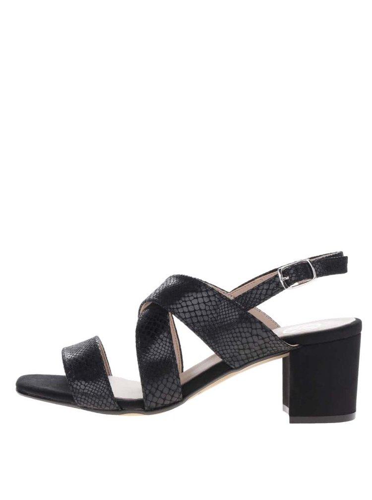 Sandale negre OJJU cu aspect de piele de sarpe