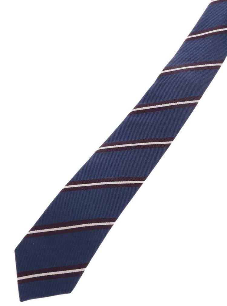 Tmavě modrá pruhovaná kravata s příměsí hedvábí Jack & Jones Milano