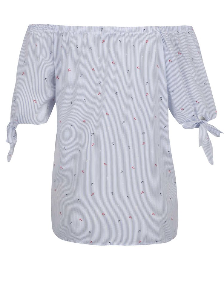 Modré pruhované tričko s odhalenými rameny Haily's Vanessa