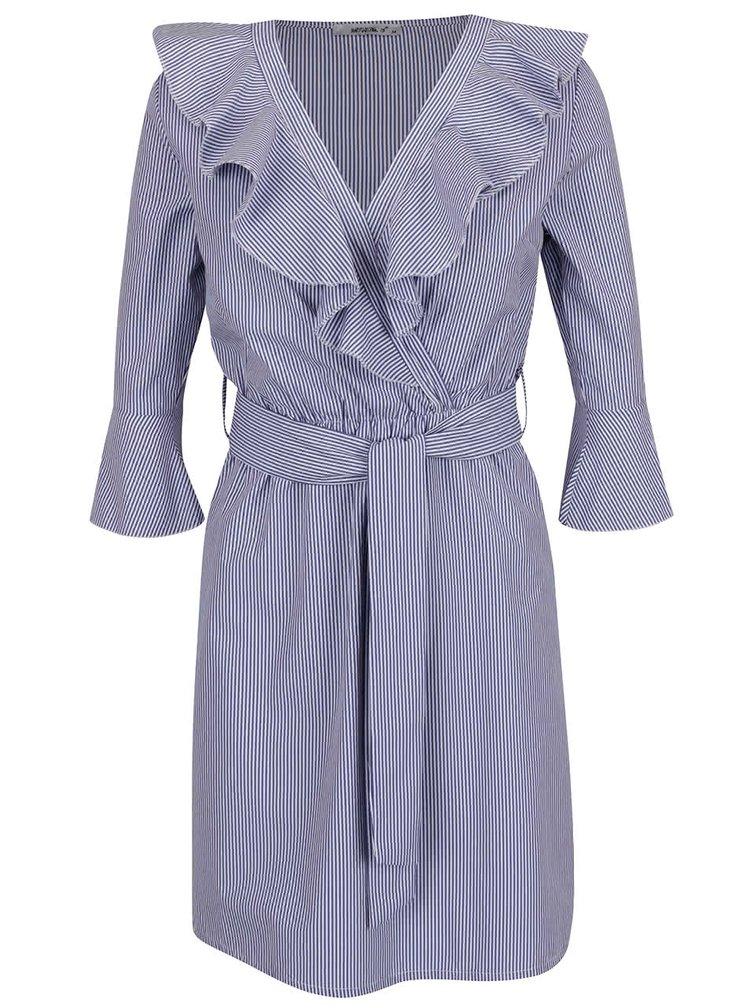 Modré pruhované šaty s volány Haily's Linda