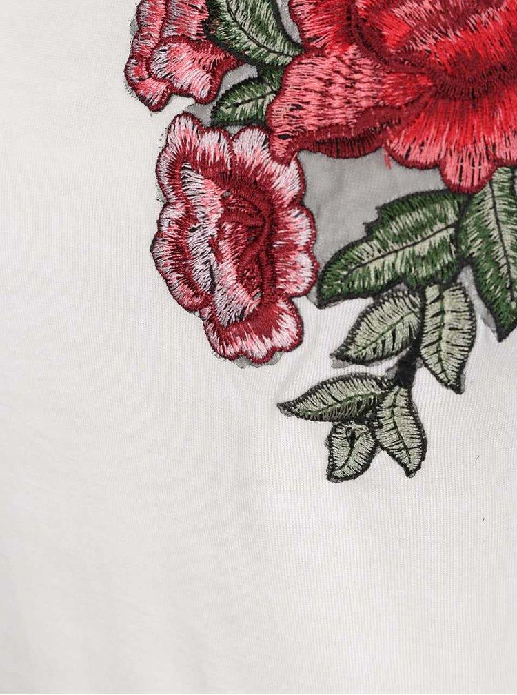 Tricou crem Haily's Vio cu broderie florală