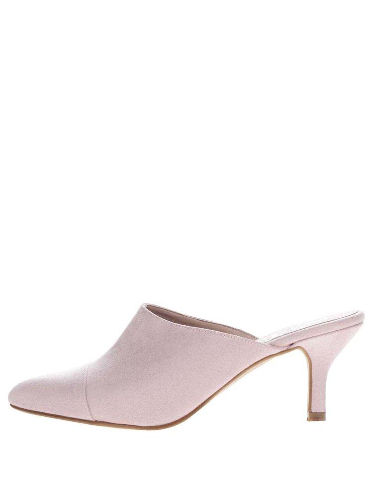 Růžové nazouvací boty v semišové úpravě na podpadku OJJU