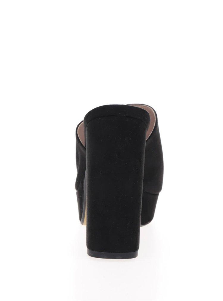 Černé pantofle v semišové úpravě na podpatku OJJU
