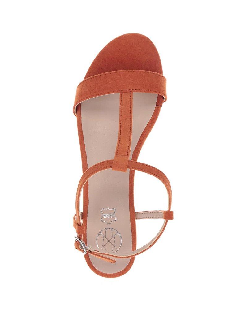 Sandale portocalii cu cataramă OJJU