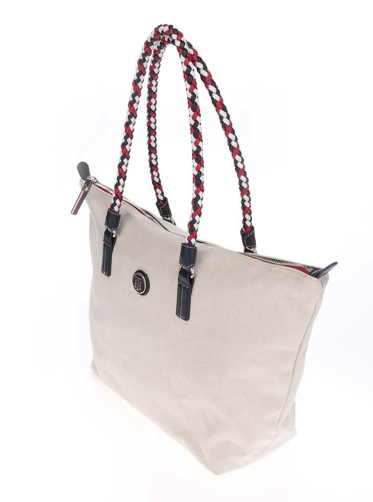 Béžová kabelka s proplétanými uchy Tommy Hilfiger
