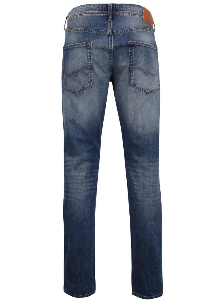 Pantaloni albaștri Jack & Jones Mike cu aspect prespălat