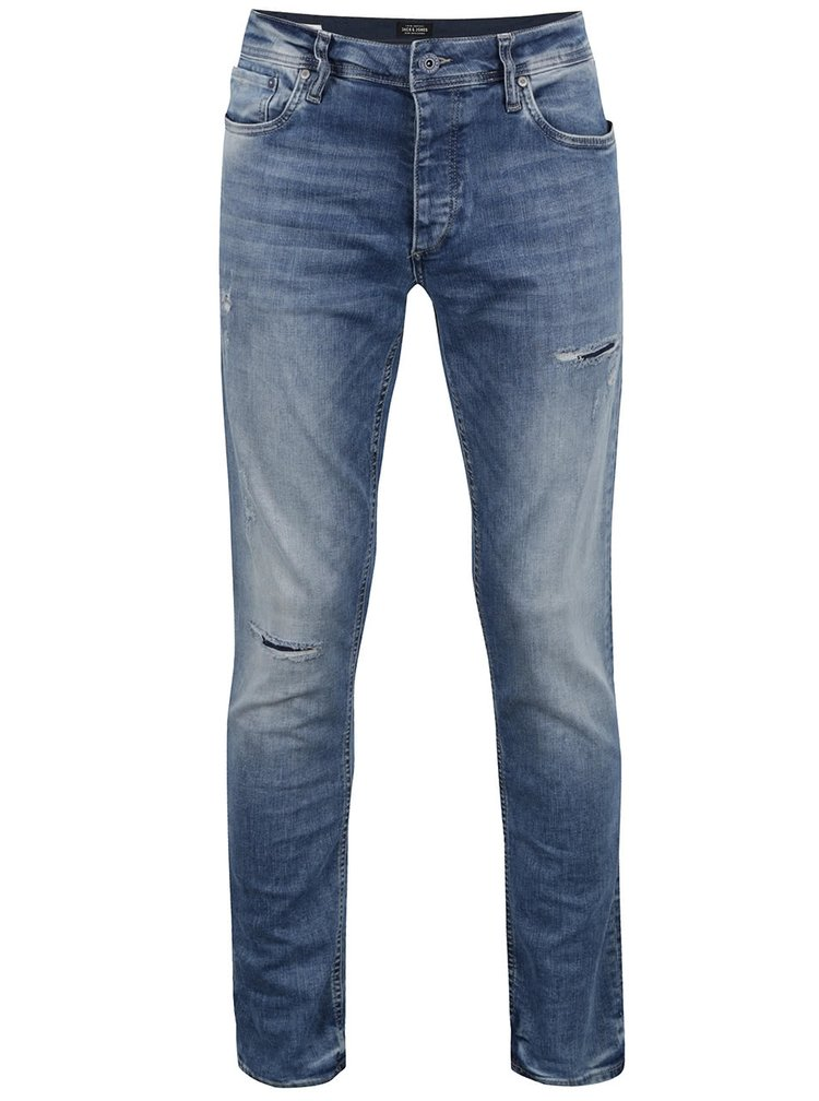 Pantaloni albastri slim fit din denim Jack & Jones Tim Original