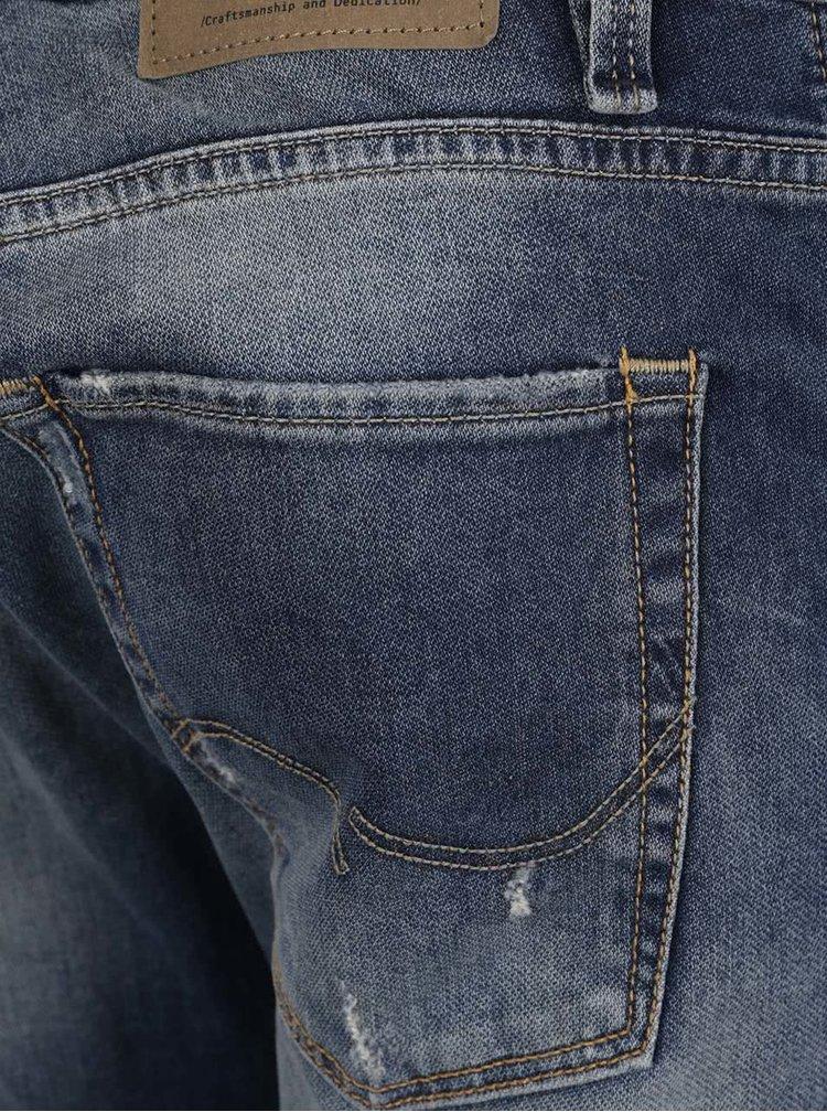 Pantaloni albastru închis Jack & Jones Glenn Icon cu aspect prespălat