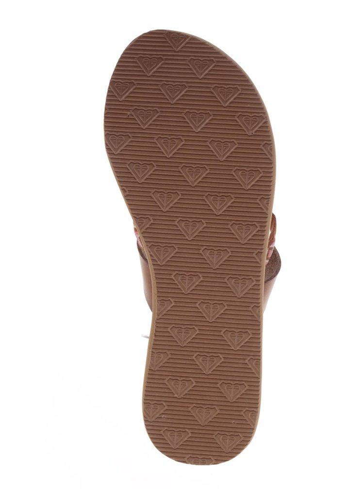 Papuci flip-flop maro Roxy Kahula cu model aztec