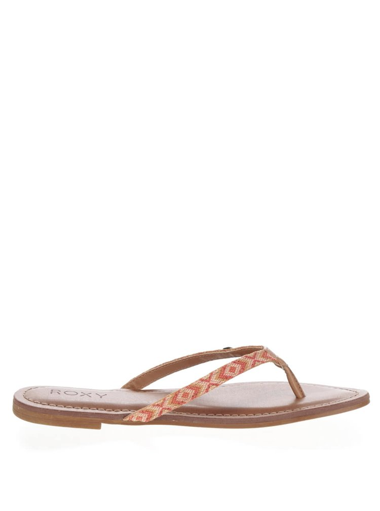 Papuci flip-flop maro Roxy Carmen cu model aztec