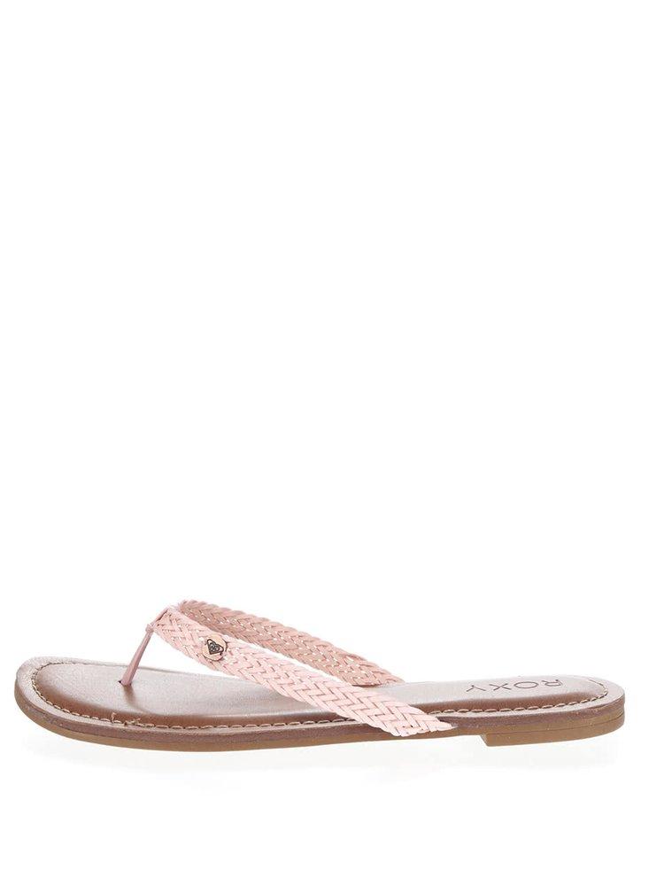 Papuci flip-flop roz Roxy Carmen cu barete împletite