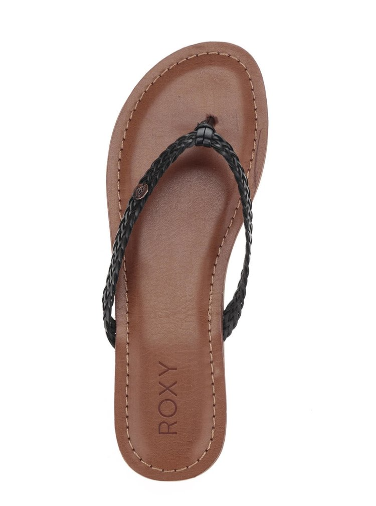Papuci flip-flop negri Roxy Carmen cu barete impletite