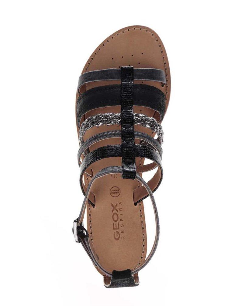 Sandale negre Geox Sozy cu cataramă