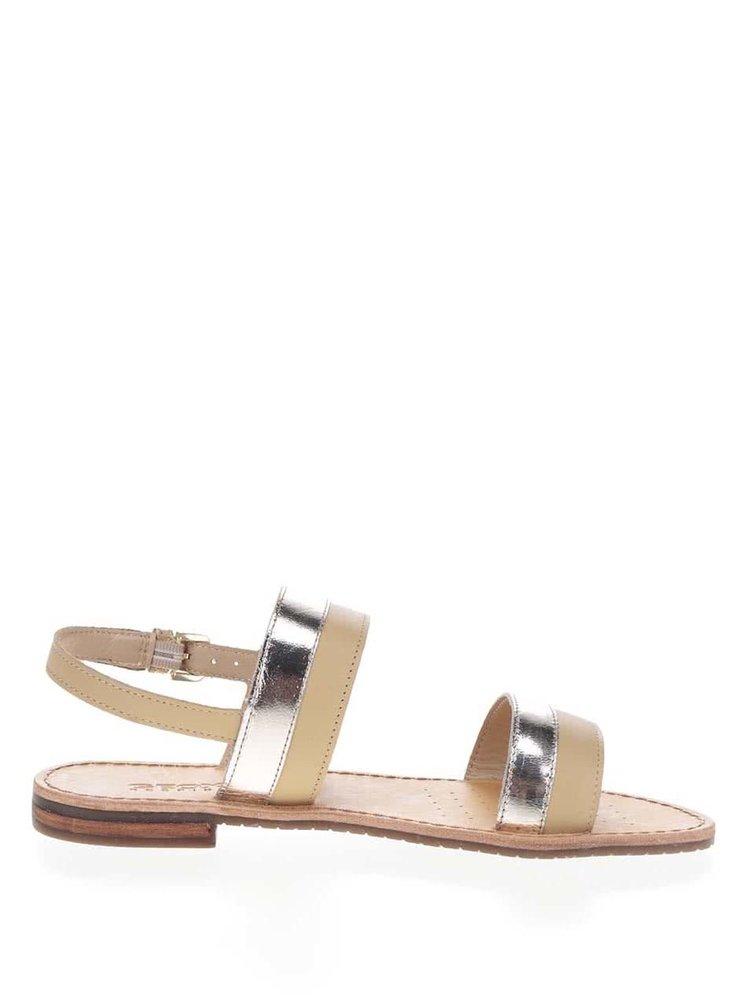 Béžové dámské kožené sandály s detaily ve zlaté barvě Geox Sozy