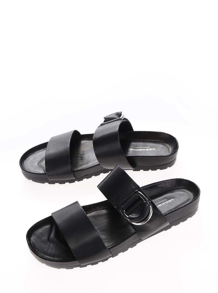 Černé dámské kožené pantofle s detailem ve stříbrné barvě Vagabond Erie