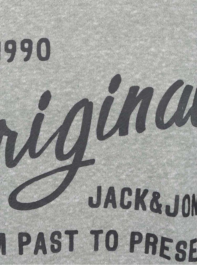 Bluza sport gri Jack & Jones Base cu imprimeu text