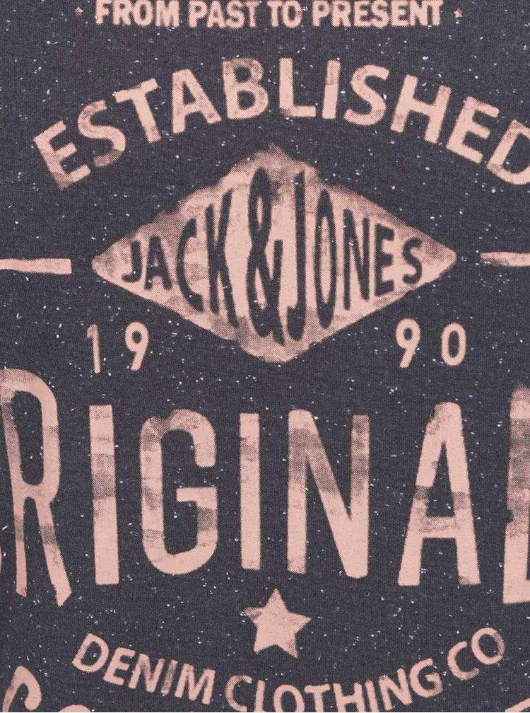Tmavě šedé triko s oranžovým potiskem Jack & Jones Statement