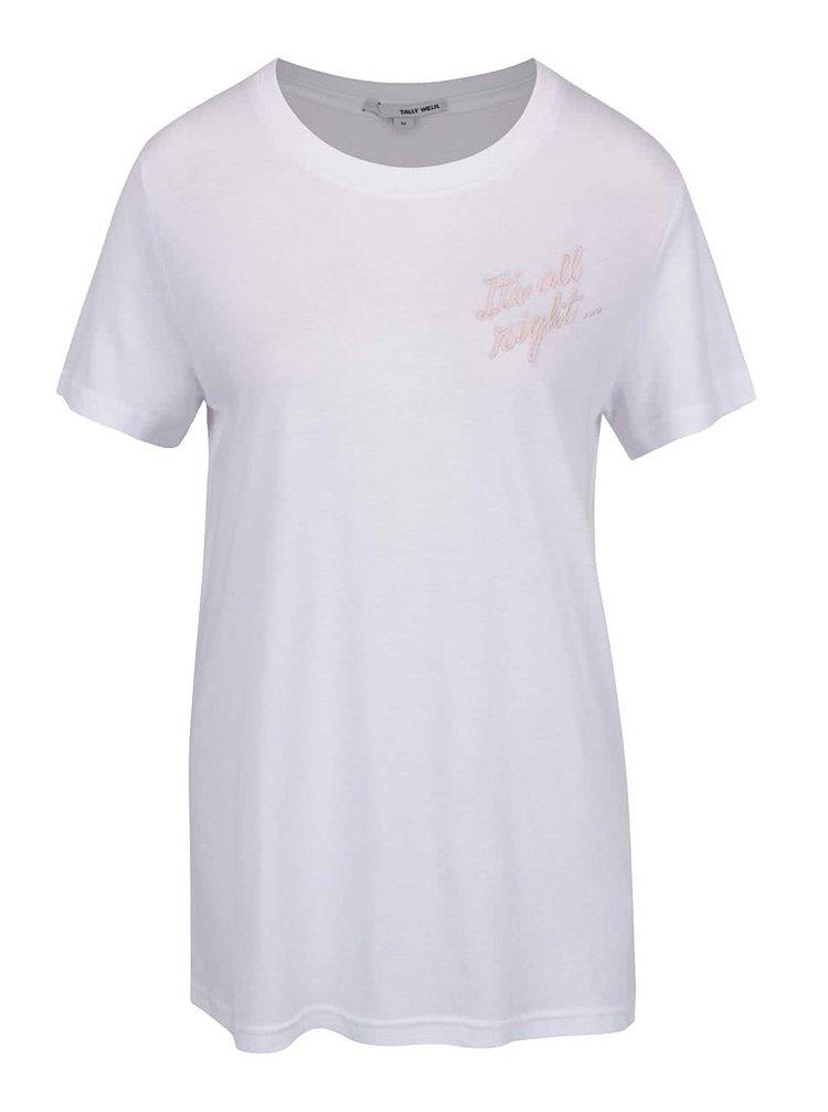 Bílé volné tričko s výšivkami TALLY WEiJL