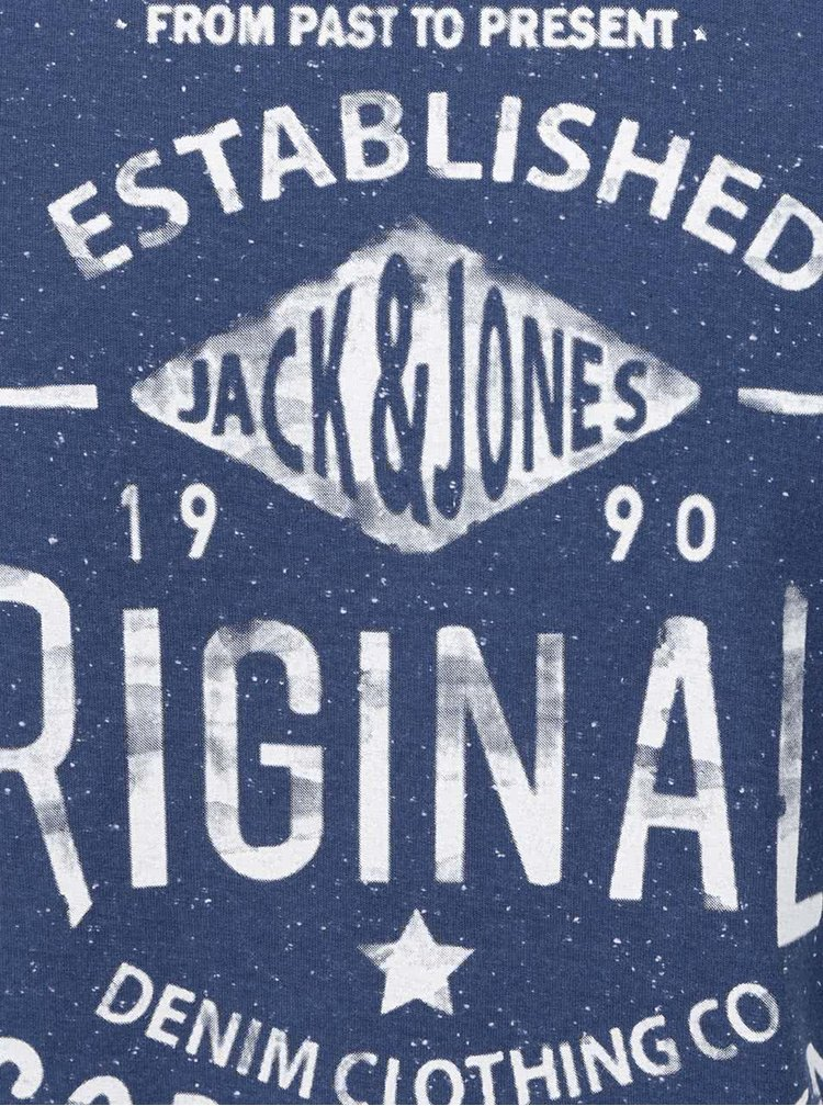 Tricou albastru Jack & Jones Statement cu imprimeu text