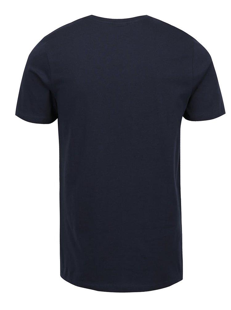 Tmavě modré triko s kulatým potiskem Jack & Jones Newport
