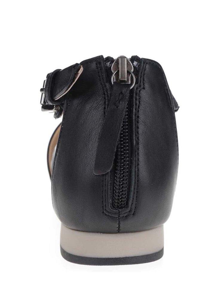 Šedo-černé dámské kožené sandály Geox Formosa