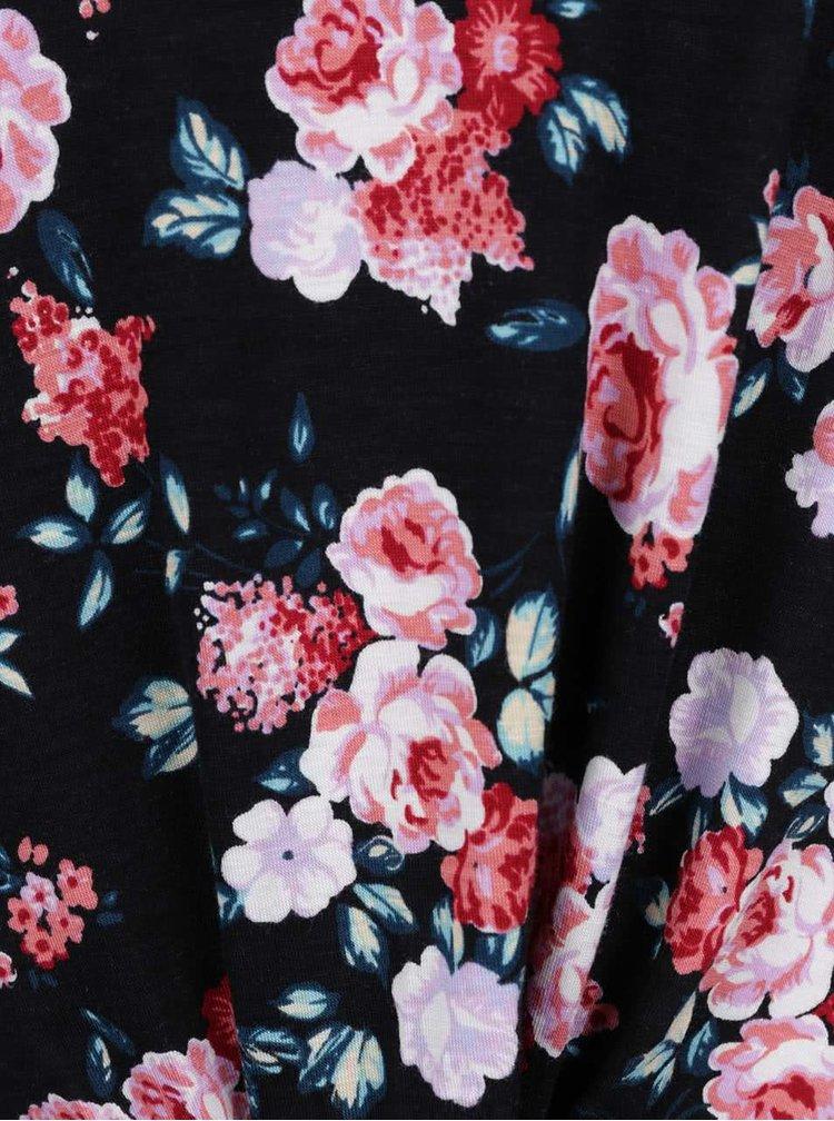 Černé volné květované tričko s uzlem TALLY WEiJL