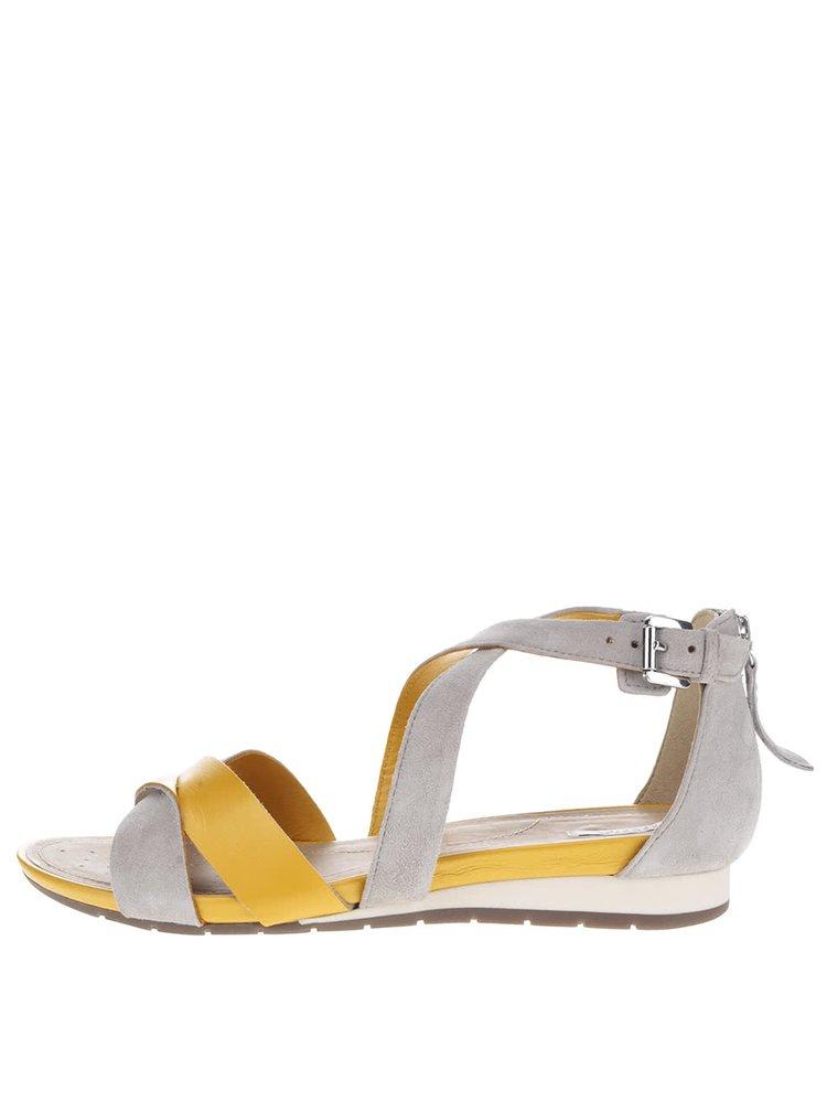 Sandale galben & gri Geox Formosa din piele intoarsa