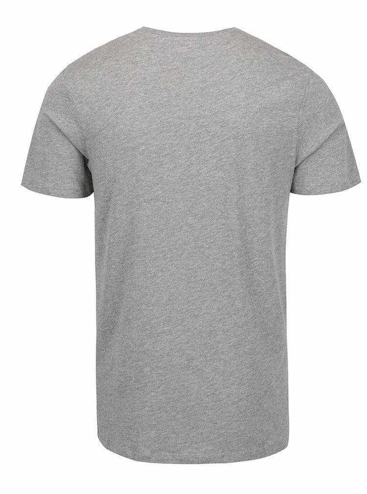 Šedé žíhané triko s potiskem Jack & Jones Newport