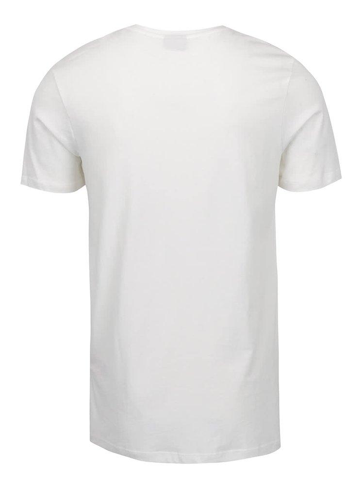 Tricou alb fildeș Jack & Jones Newport cu imprimeu