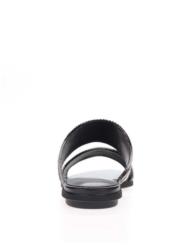 Papuci slide crem & negru Vagabond Natalia cu model