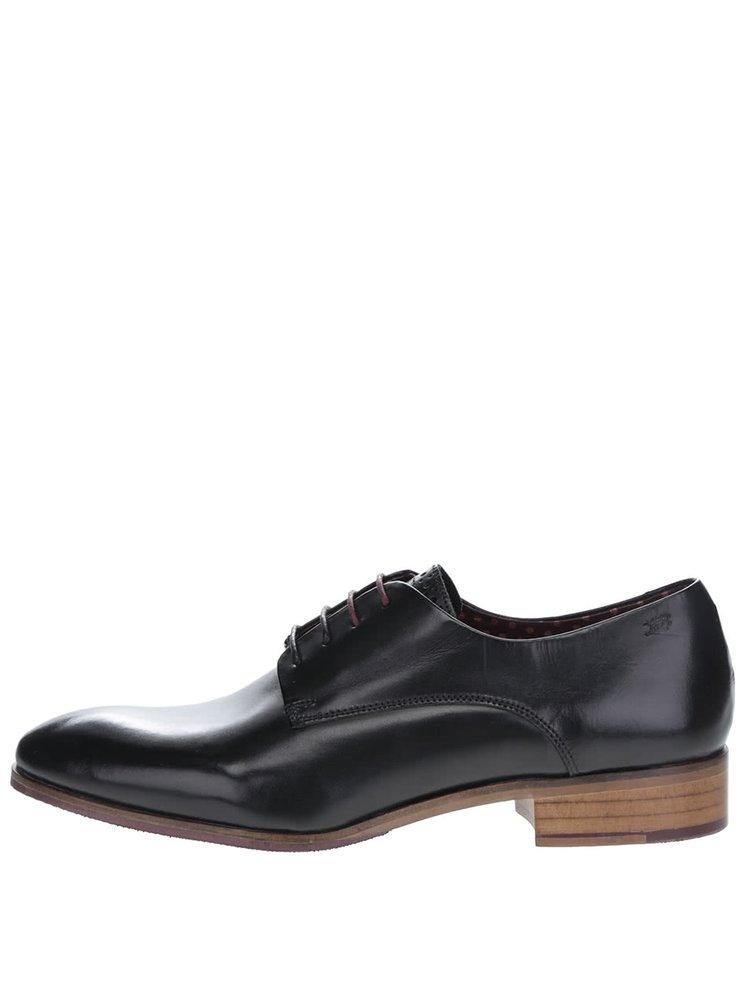 Pantofi negri London Brogues Wister Derby din piele cu aspect lucios