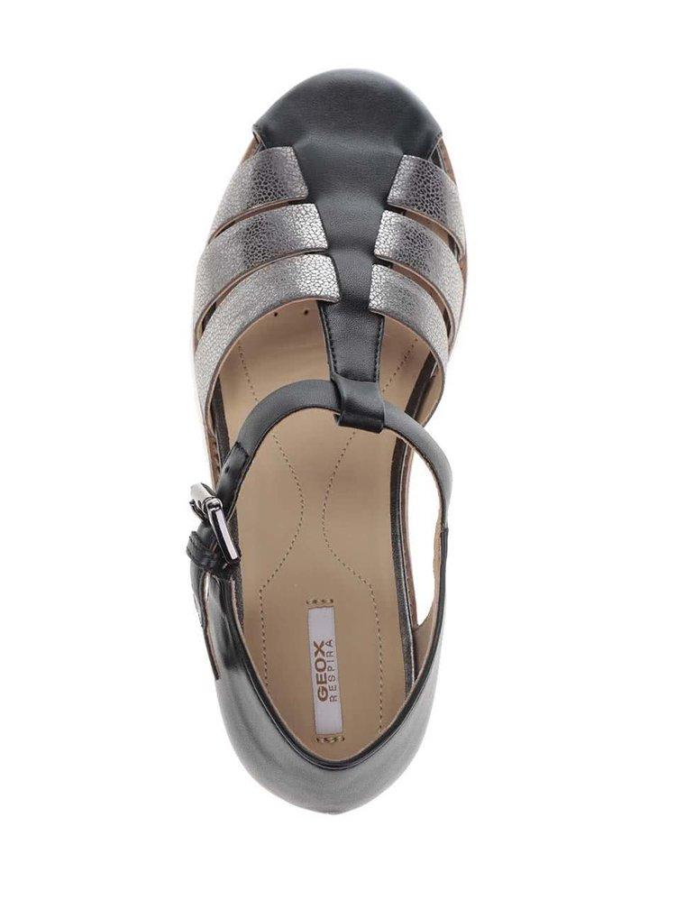 Sandale negre cu barete argintii Geox Darline