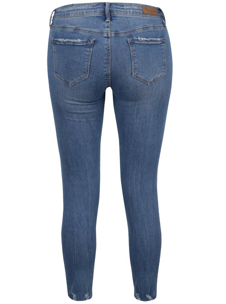 Modré skinny džíny s potrhaným efektem a výšivkami TALLY WEiJL