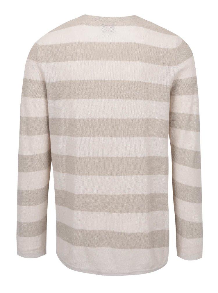 Bluză bej Jack & Jones Bayamo cu model în dungi