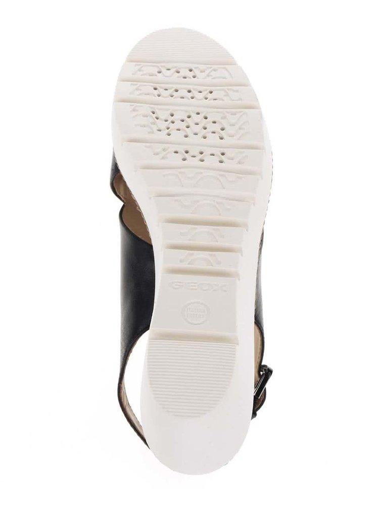Černé kožené sandály na platformě Geox Domezia