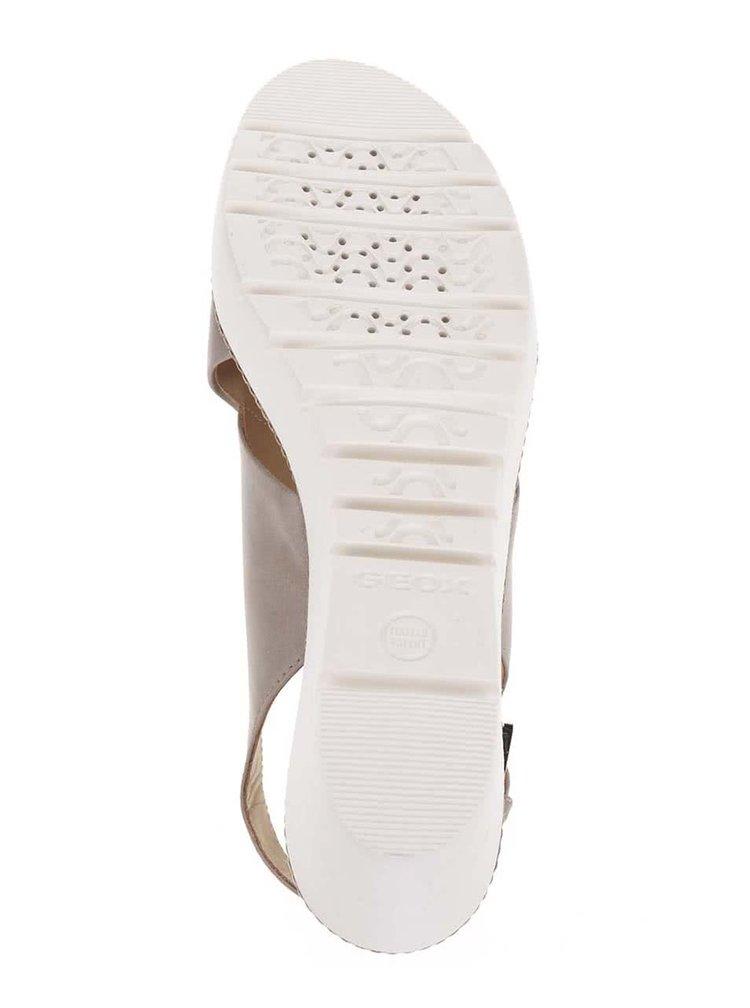 Sandale bej cu platforma Geox Domezia din piele