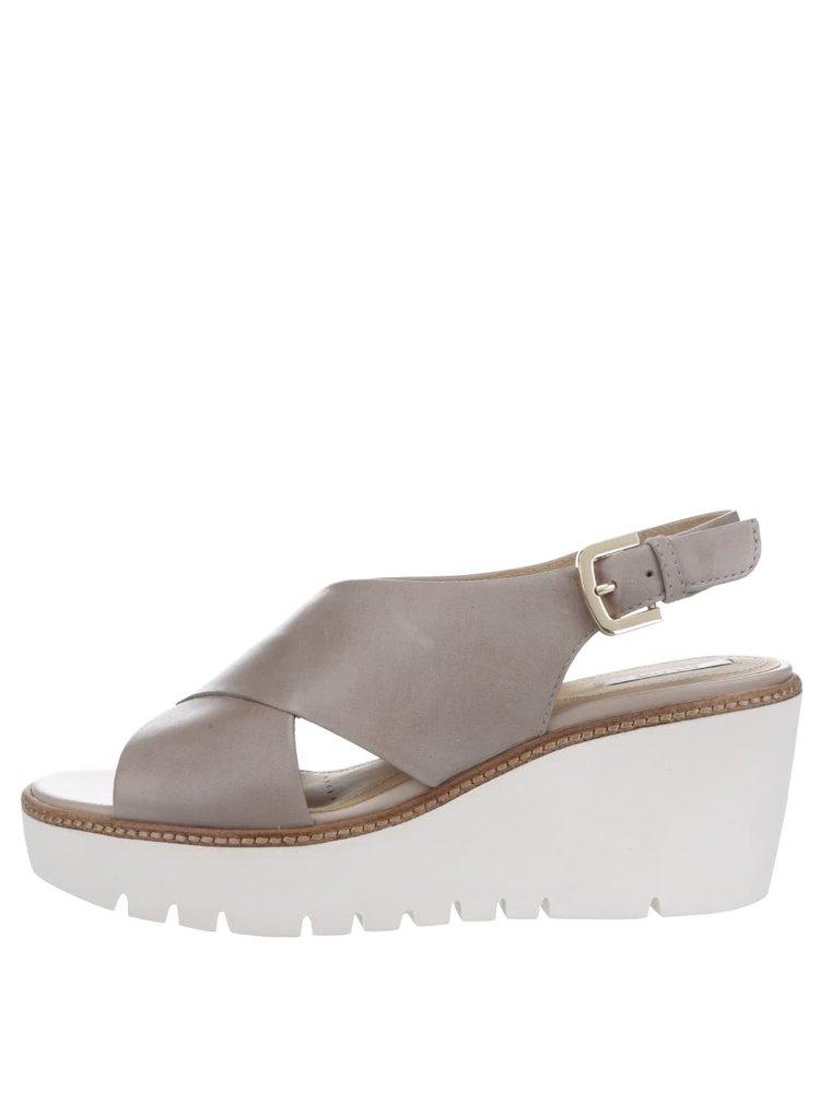 Béžové kožené sandály na platformě Geox Domezia