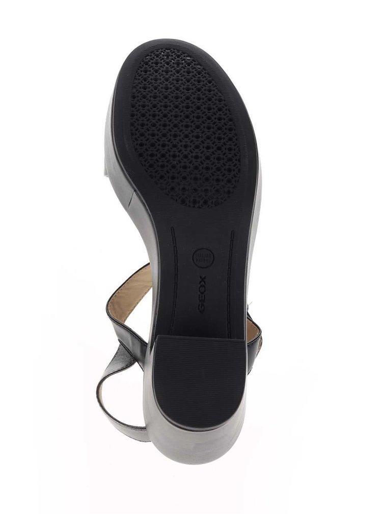 Černé kožené sandálky na širokém podpatku Geox Zaferly
